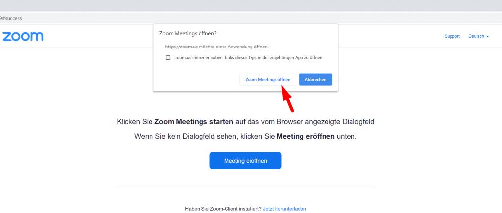 Zoom Meetings Popup