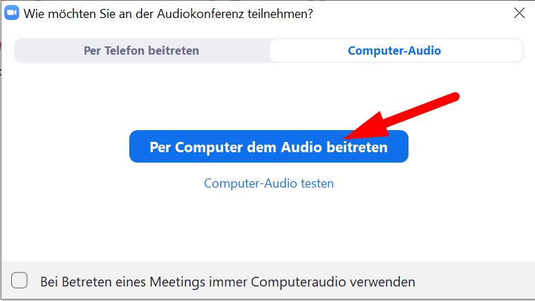 Audio beitreten